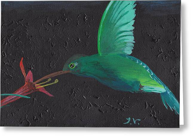 Acrylic Art Greeting Cards - Hummingbird Feeding Greeting Card by Jose Valeriano