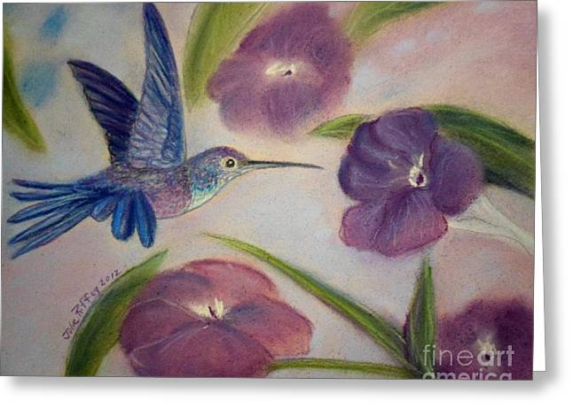 Flying Bird Pastels Greeting Cards - Hummingbird in Purple Flowers Greeting Card by Julie Brugh Riffey
