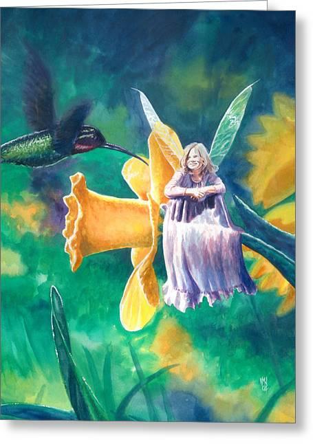 Faerie Paintings Greeting Cards - Hummingbird Greeting Card by Ken Meyer jr