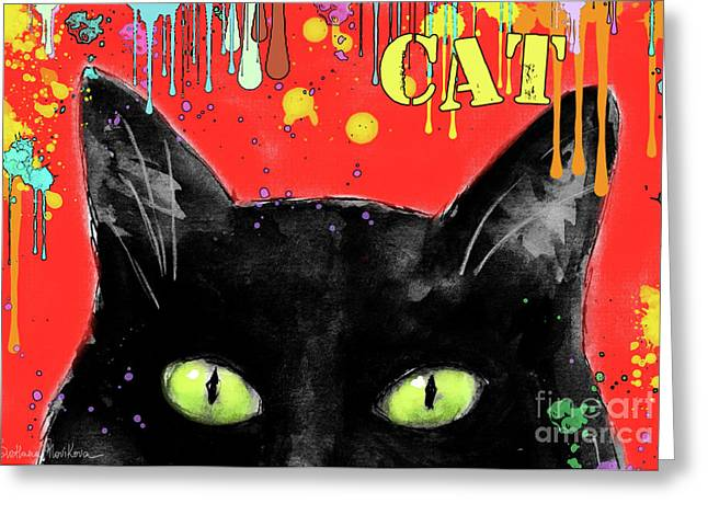 For Sale Drawings Greeting Cards - humorous Black cat painting Greeting Card by Svetlana Novikova