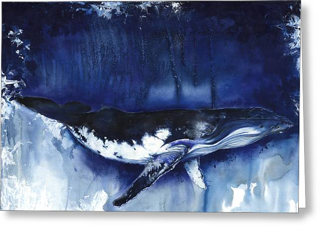 Tree Roots Mixed Media Greeting Cards - Humpback Whale Greeting Card by Anthony Burks Sr
