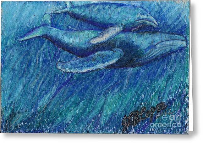 Whale Pastels Greeting Cards - Humpback Whale Mother and Calf Greeting Card by Jamey Balester