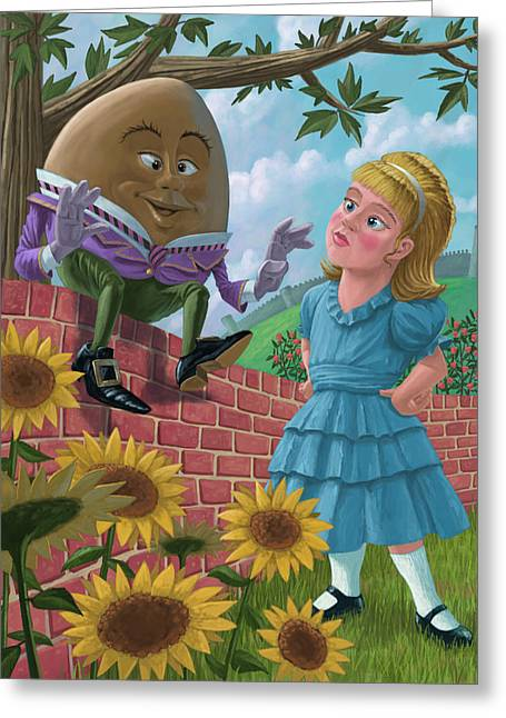 Yellow Sunflower Greeting Cards - Humpty Dumpty On Wall With Alice Greeting Card by Martin Davey