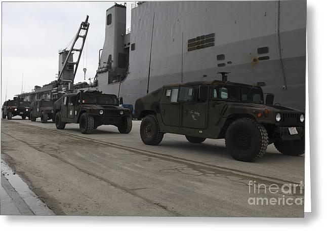 Harpers Ferry Greeting Cards - Humvees Depart Uss Harpers Ferry Greeting Card by Stocktrek Images