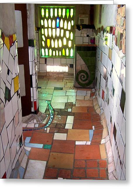 Hundertwasser Restroom Greeting Card by Peter Mooyman
