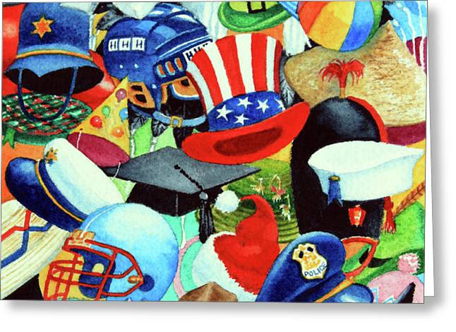 Hundreds of Hats Greeting Card by Hanne Lore Koehler