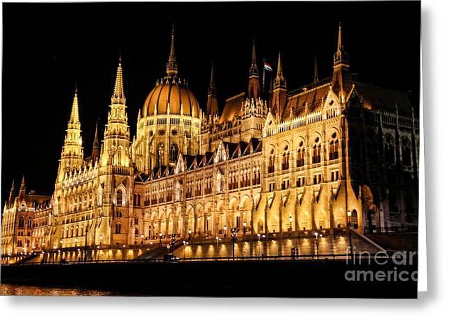 Hungarian Parliament Building Greeting Card by Mariola Bitner