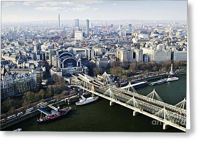 Footbridge Greeting Cards - Hungerford Bridge seen from London Eye Greeting Card by Elena Elisseeva