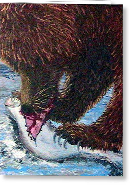 Salmon Paintings Greeting Cards - Hungry Bear Greeting Card by Tamara Taylor
