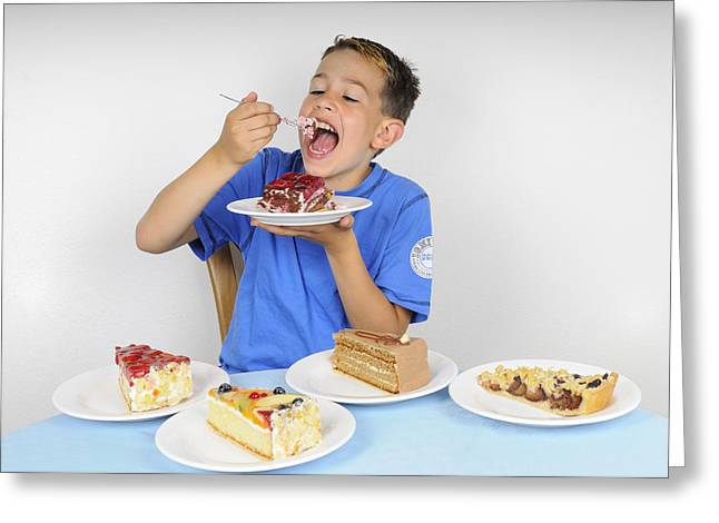 Greedy Greeting Cards - Hungry boy eating lot of cake Greeting Card by Matthias Hauser