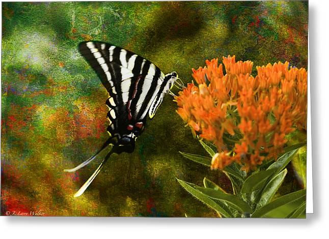 Butterfly Digital Art Greeting Cards - Hungry Little Butterfly Greeting Card by J Larry Walker