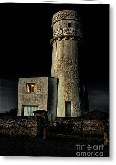 Ramshackle Greeting Cards - Hunstanton Lighthouse at night Greeting Card by John Edwards