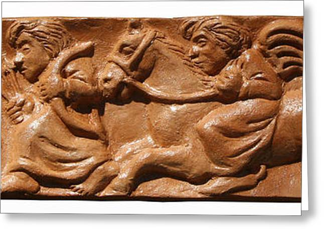 Horse Reliefs Greeting Cards - Hunt Greeting Card by Vladimir Kozma
