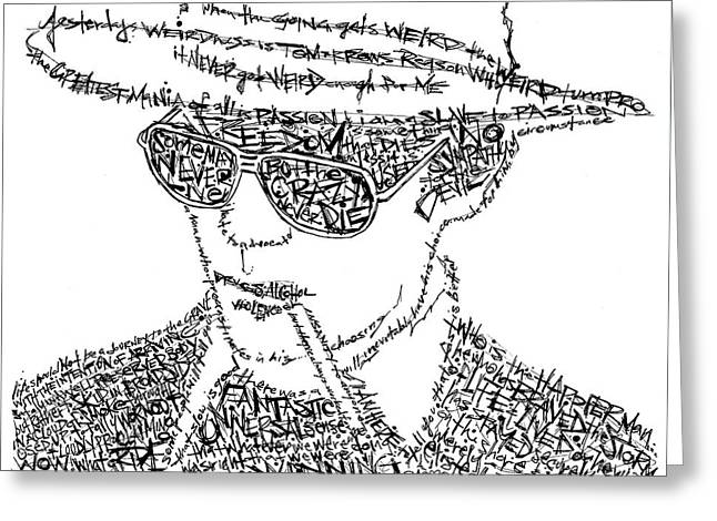 Hunter Greeting Cards - Hunter S. Thompson Black and White Word Portrait Greeting Card by Kato Smock