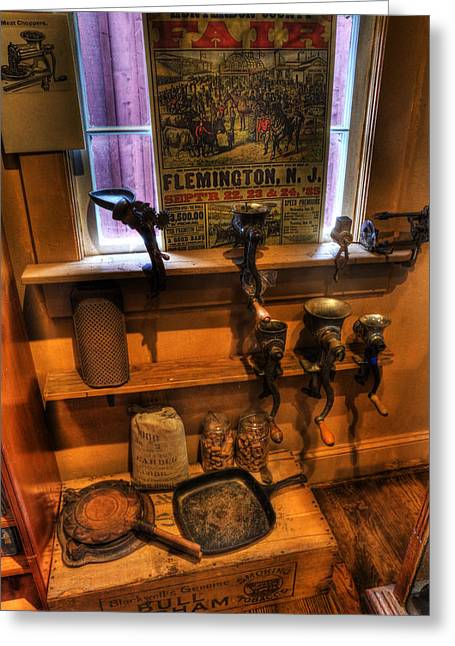 Vector Image Photographs Greeting Cards - Hunterdon County Fair - General Store - vintage - nostalgia - meat grinders Greeting Card by Lee Dos Santos