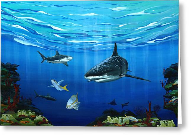 Black Marlin Paintings Greeting Cards - Hunters Greeting Card by Sandra Camper