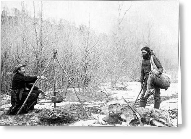 Miners Greeting Cards - Hunting Camp Winter 1887-88 -- South Dakota Greeting Card by Daniel Hagerman