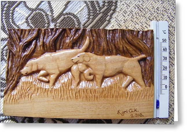 Prairie Dog Pyrography Greeting Cards - Hunting dogs-wood carving relief and pyrography Greeting Card by Egri George-Christian