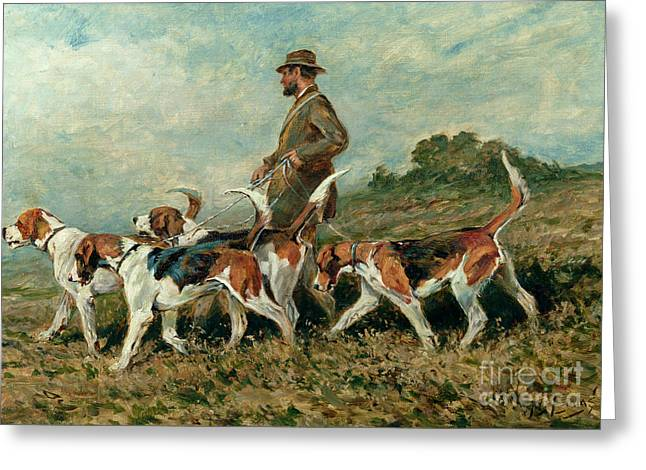 Dog Walking Greeting Cards - Hunting Exercise Greeting Card by John Emms