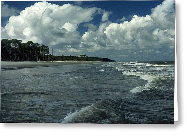 HUNTING ISLAND SURF Greeting Card by Skip Willits