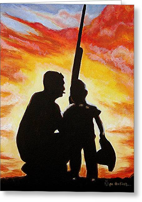 Bonding Paintings Greeting Cards - Hunting with my Dad Greeting Card by Al  Molina