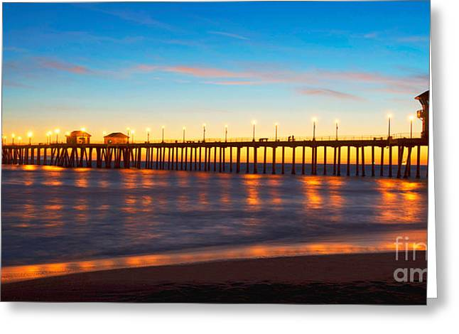 Recently Sold -  - Surf City Greeting Cards - Huntington Beach Pier - Twilight Greeting Card by Jim Carrell