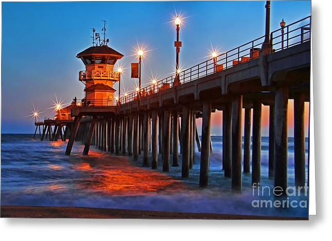 Recently Sold -  - Surf City Greeting Cards - Huntington Beach Pier Greeting Card by Mariola Bitner