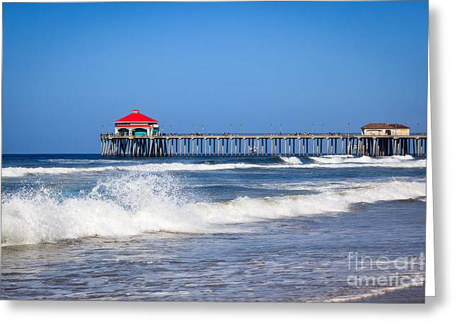 Historic City Pier Greeting Cards - Huntington Beach Pier Photo Greeting Card by Paul Velgos