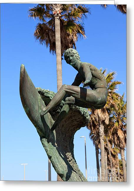 Surfing Art Greeting Cards - Huntington Beach Surfer Statue Greeting Card by Paul Velgos