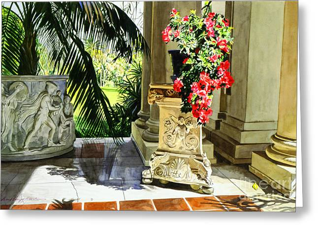 Tiled Greeting Cards - Huntington Loggia Greeting Card by David Lloyd Glover