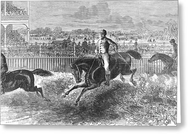 Hurdles Greeting Cards - Hurdle Racing, 1867 Greeting Card by Granger