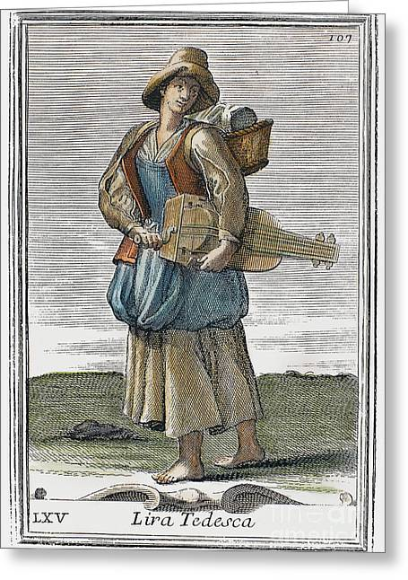 Recently Sold -  - Engraving Greeting Cards - Hurdy Gurdy, 1723 Greeting Card by Granger