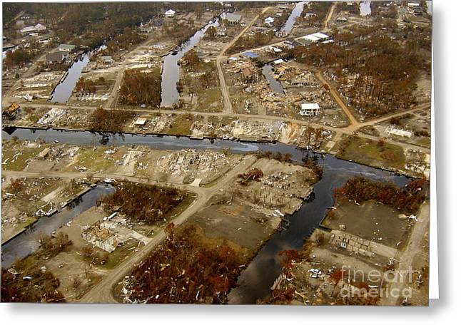 Flooding Greeting Cards - Hurrican Katrina Damage Greeting Card by Science Source