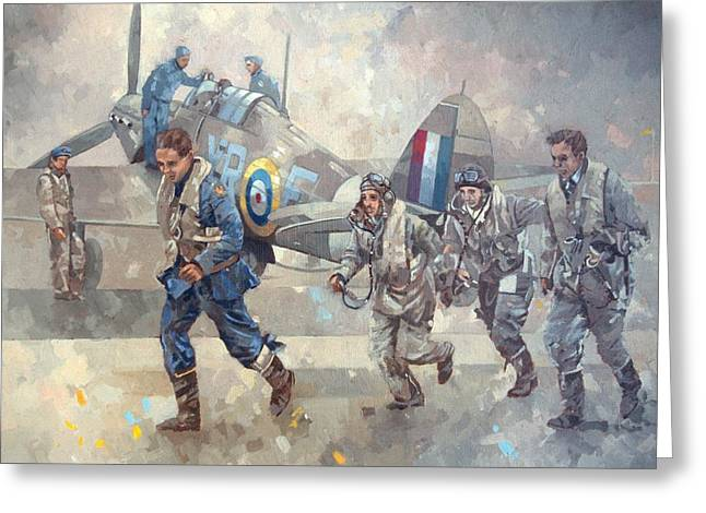 Military Airplanes Paintings Greeting Cards - Hurrican Scamble  Greeting Card by Peter Miller