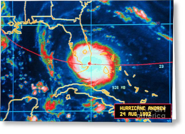 1992 Greeting Cards - Hurricane Andrew, Infrared Image, 1992 Greeting Card by Science Source