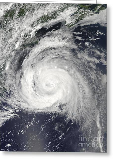 Hurricane Bill Off The East Coast Greeting Card by Stocktrek Images