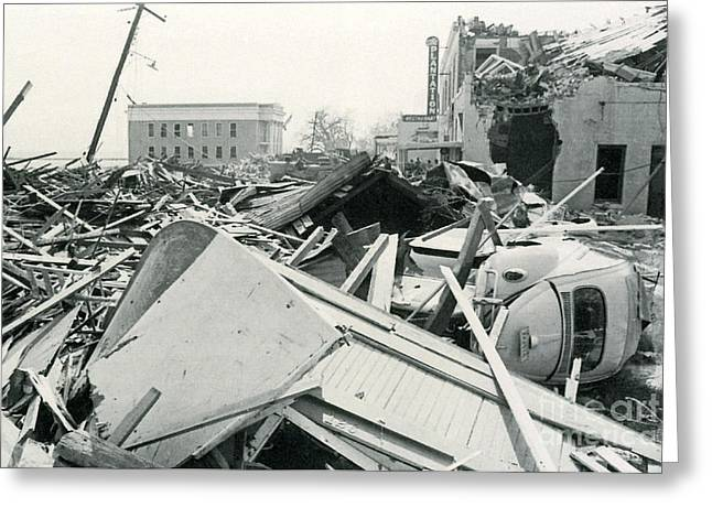 Devastated Greeting Cards - Hurricane Camille Devastation Greeting Card by Science Source