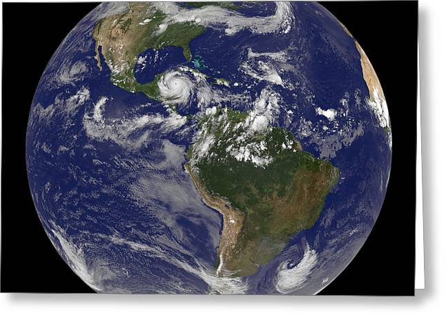 Hurricane Dean Approaches Yucatan Greeting Card by Stocktrek Images
