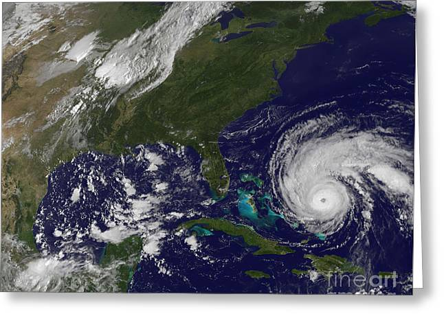 Atlantic Ocean.disaster Greeting Cards - Hurricane Earl Greeting Card by Stocktrek Images