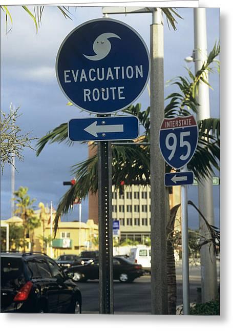 Pompano Greeting Cards - Hurricane Evacuation Sign Greeting Card by Alan Sirulnikoff