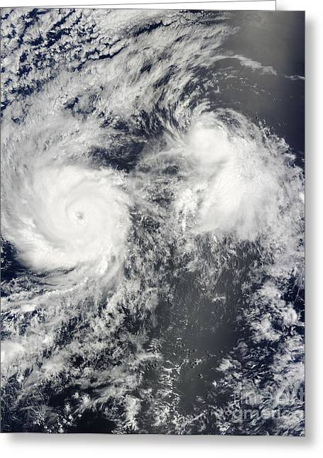 Hurricane Felicia And Tropical Storm Greeting Card by Stocktrek Images