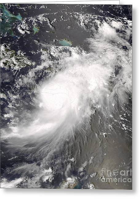 Hispaniola Greeting Cards - Hurricane Gustav Over Hispaniola Greeting Card by Stocktrek Images