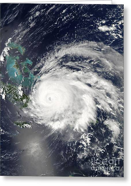 Hispaniola Greeting Cards - Hurricane Ike Over Cuba, Hispaniola Greeting Card by Stocktrek Images