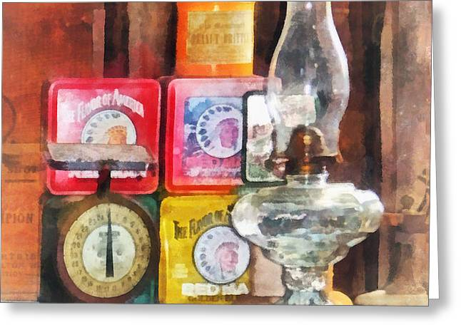 Hurricane Lamp and Scale Greeting Card by Susan Savad