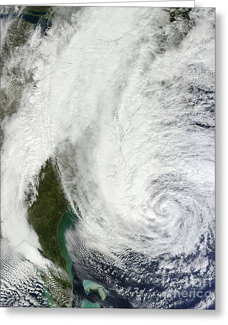 Superstorm Sandy Greeting Cards - Hurricane Sandy Off The Southeastern Greeting Card by Stocktrek Images