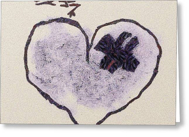 Sweating Paintings Greeting Cards - Hurting heart Greeting Card by Odon Czintos