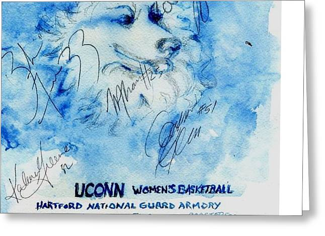 Huskies team and Mascot-Armory 2005 Greeting Card by Elle Smith  Fagan