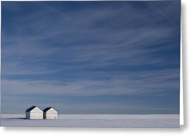 Farm Structure Greeting Cards - Hussar, Alberta, Canada Two Small Farm Greeting Card by Philippe Widling