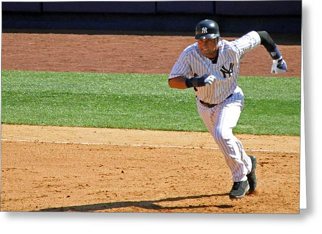 Sports Action Greeting Cards - Derek Jeter Greeting Card by Mitch Cat