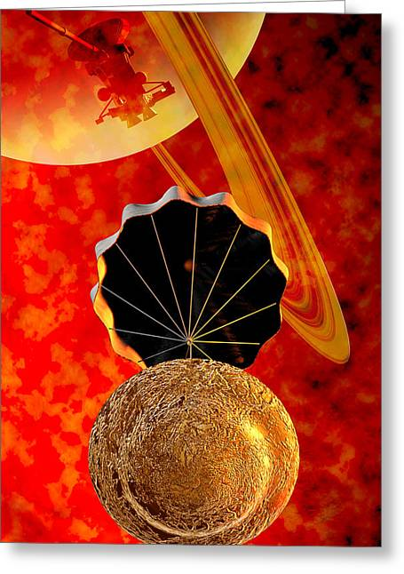 Cassini Greeting Cards - Huygens Probe, Descent To Titan Greeting Card by Christian Darkin